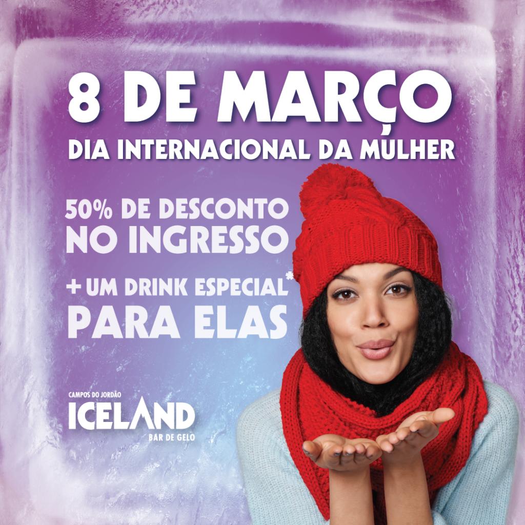 Mulher com vestimentas de frio, mandando um beijo, seguida das informações da campanha: 50% de desconto no ingresso e um drink especial para as mulheres.
